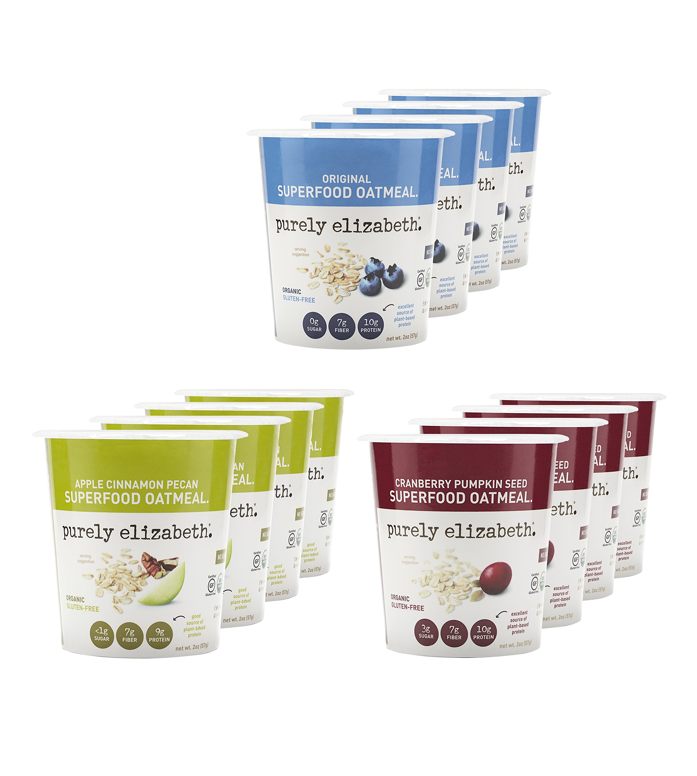 purely elizabeth Gluten-Free, Organic, Superfood Oatmeal Cup, Variety Pack, 12 Count