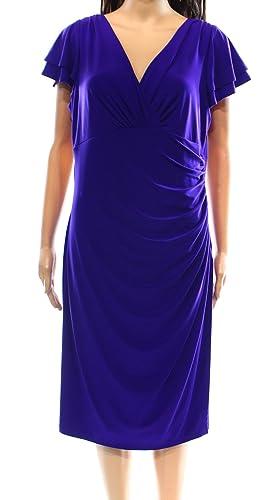 Lauren Ralph Lauren Women's Ruched V-Neck Sheath Dress Blue 2