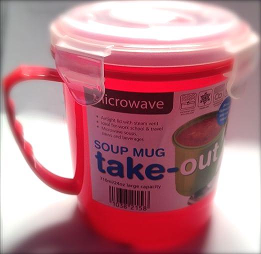 Microondas comida para llevar Taza Sopera X 1 (Rojo) sin BPA ...