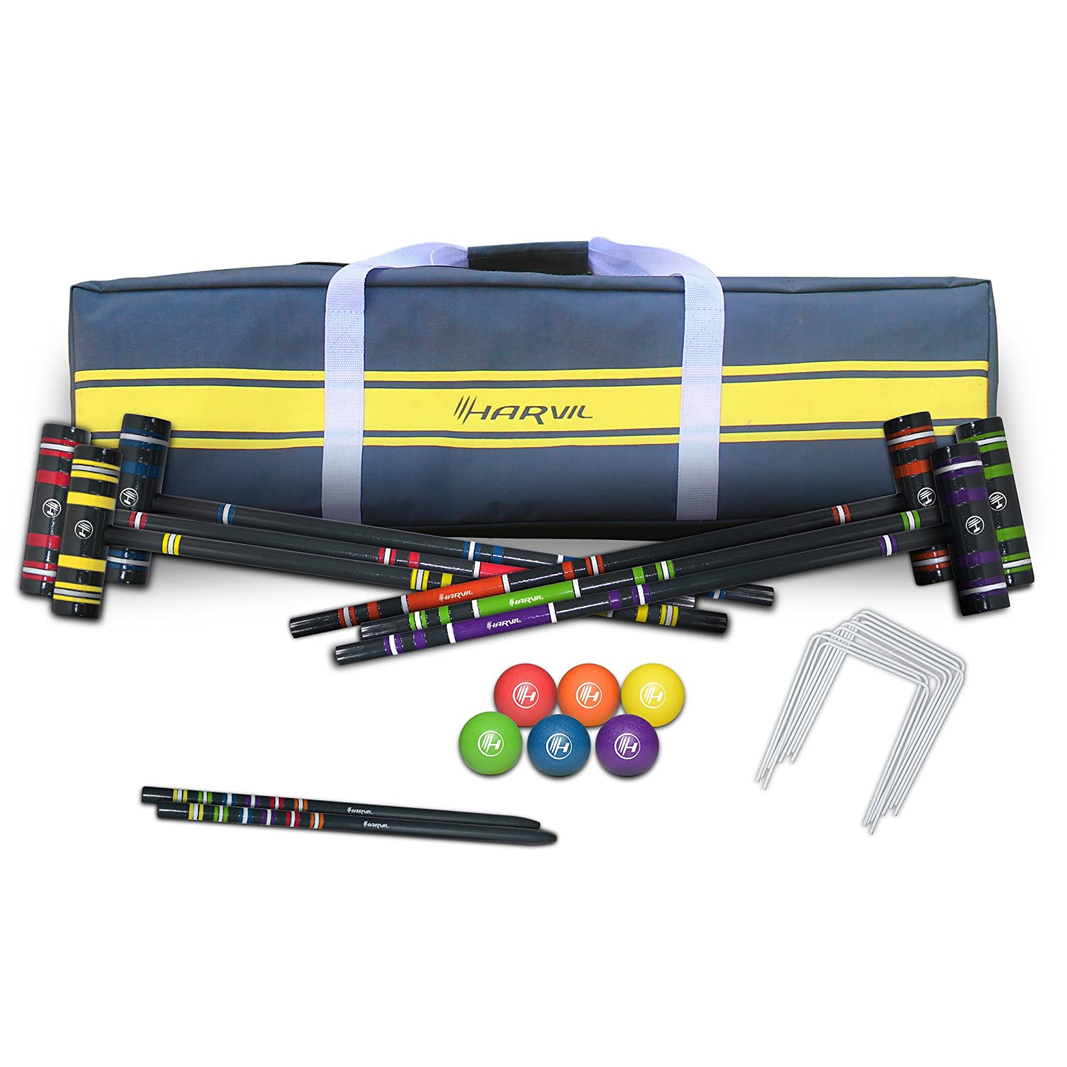 Harvil Complete six-player Croquet Set with Mallets、ボール、Stake支柱、Wickets and Carryingケース B0787C4NF4
