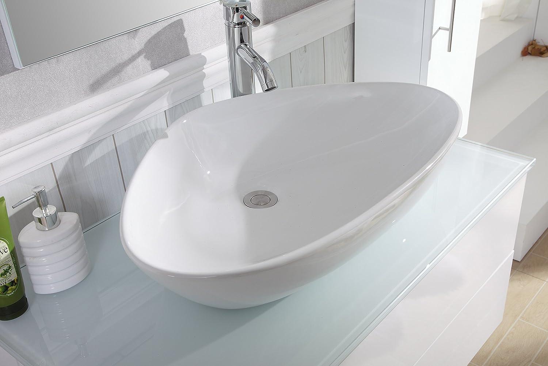 Badezimmermöbel weiß hochglanz  Badezimmer Komplett-Set Badmöbel inkl. Waschbecken, Armatur ...