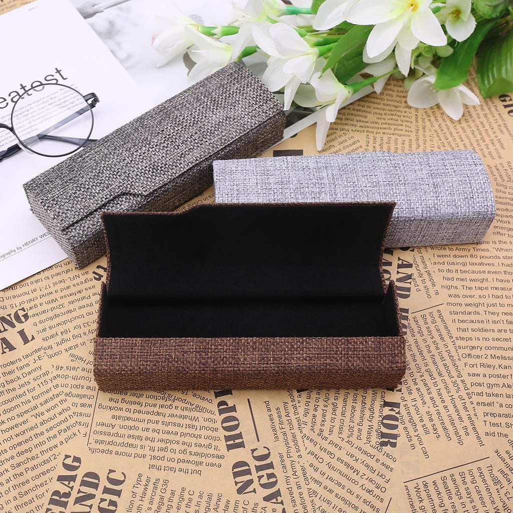 Caja cuadrada para gafas de sol de lino, plegable, estuche óptico hecho a mano para guardar gafas, color marrón: Amazon.es: Oficina y papelería