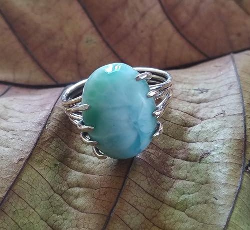Larimar Silver Ring Larimar Ring Blue Stone Ring Rings Women Gemstone Ring Jewellery Plain Silver Ring Handmade Ring Designer Ring