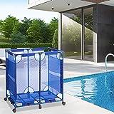 VINGLI Pool Storage Organizer Bin Modern Rolling Cart Poolside Mesh Container Outdoor Organizer Box Pool Toys Goggle Balls Fl