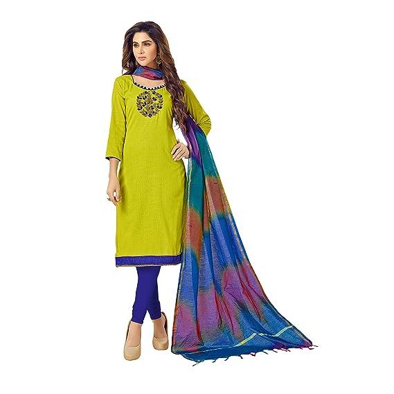 d39e05f7 Sheknows Women's Cotton Embroidery Unstitched Churidar Salwar Dupatta Set  (Green, Free Size)