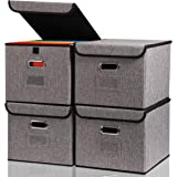 File Organizer Box 4-pack Collapsible Decorative Linen Filing Storage Hanging File Folders with Lids Office Cabinet…