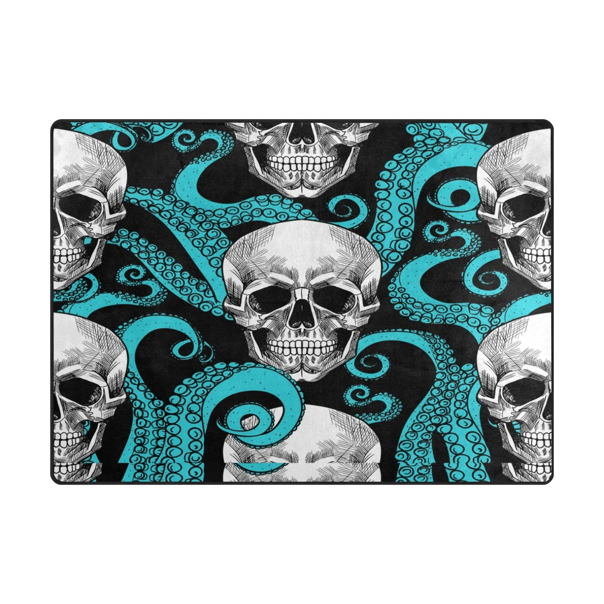 Amazon.com : ALAZA Blue Octopus Kraken Sugar Skull Area Rug Rugs for ...