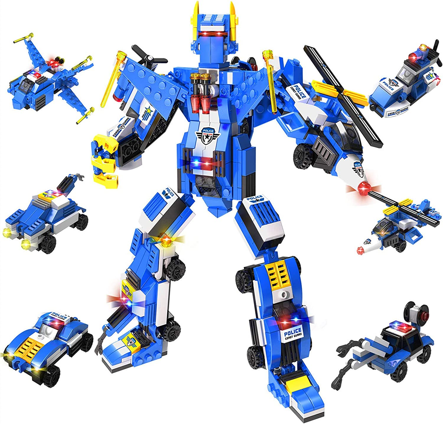 ANGINSTAR Building Blocks Building Bricks Toy for Kids Robot STEM Toy Transforming Construction Building Toys Engineering 6 in 1 Change 22 Style Fun Stem Toys for Boys and Girls Ages 6 Years Old