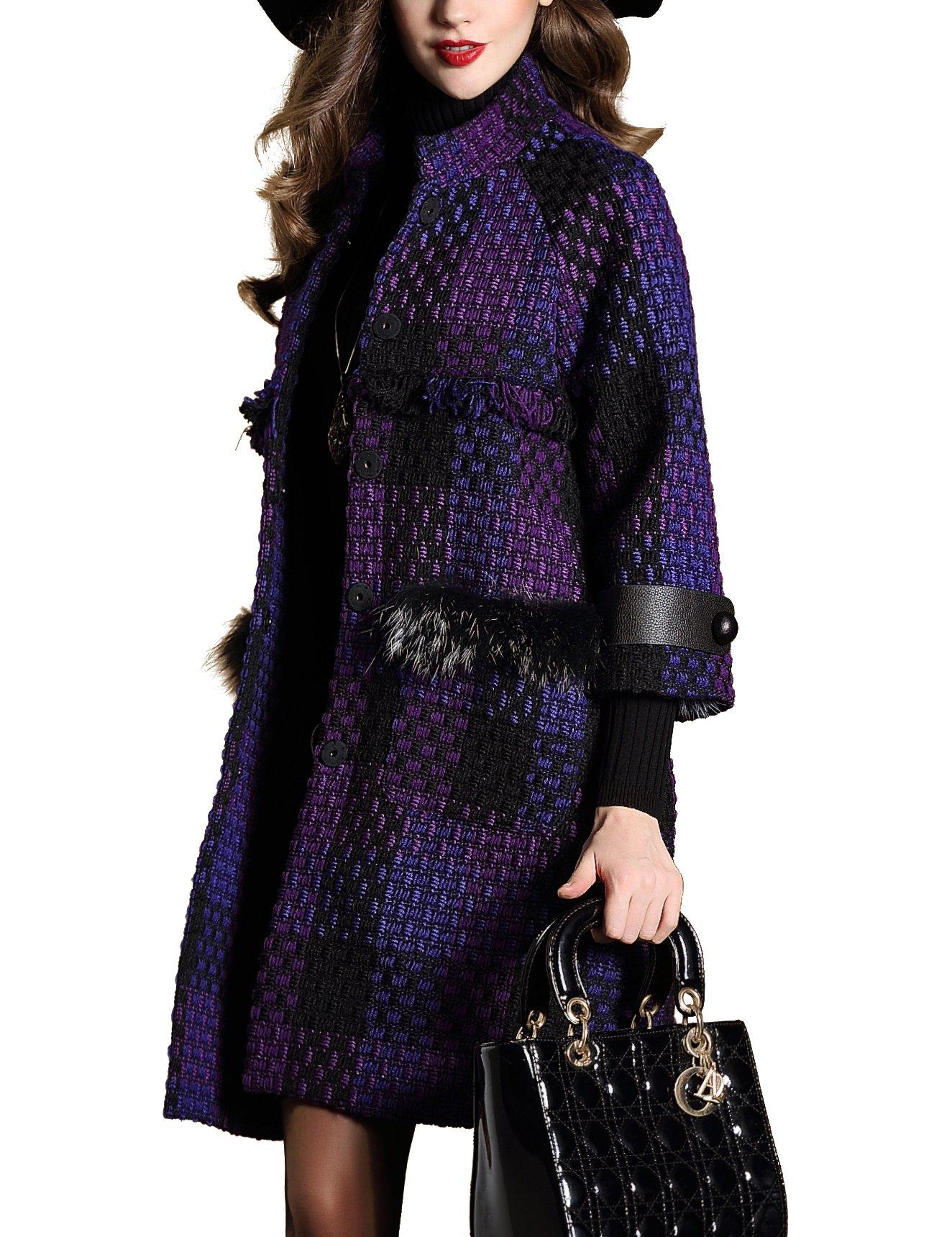 DanMunier Women's Winter Classic Double-Breasted Coat #4358 (M, Purple) by DanMunier (Image #2)