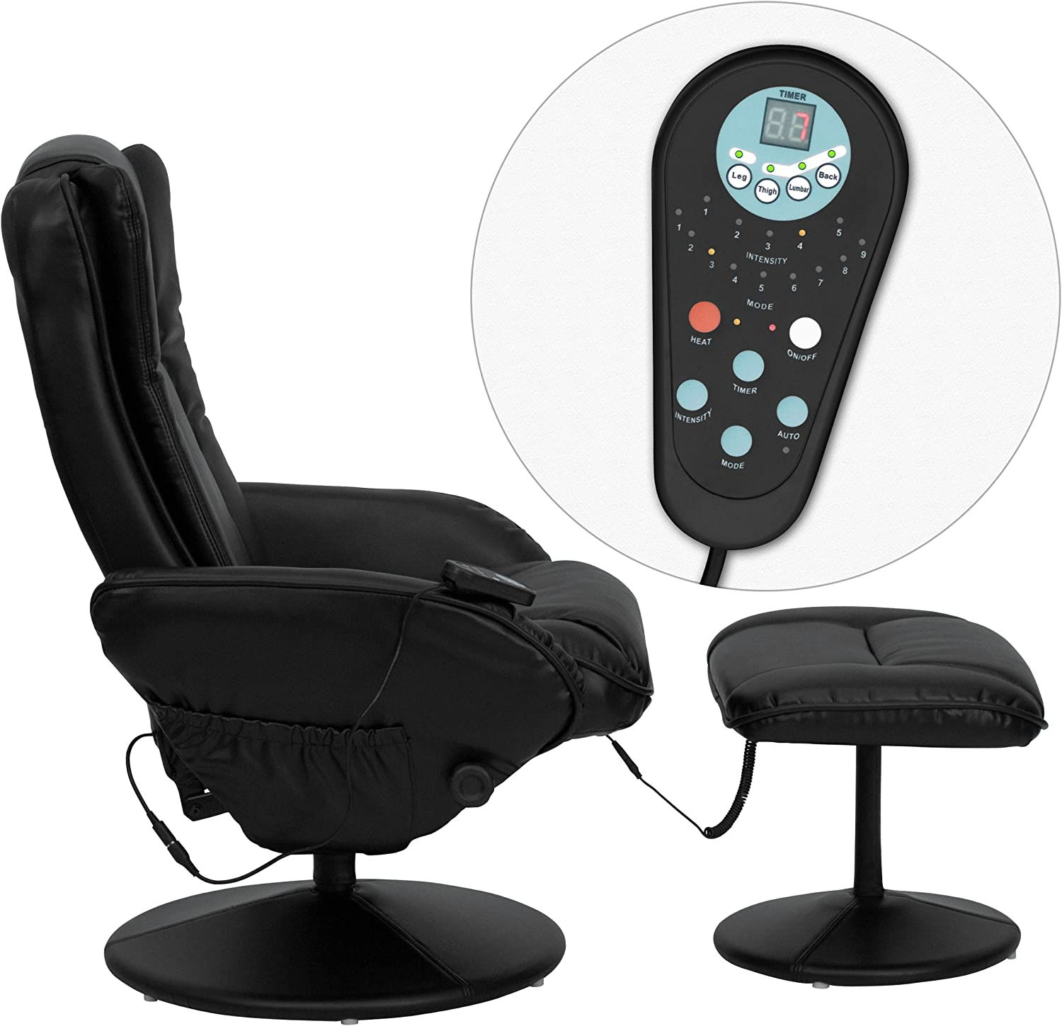 Flash Furniture Massage Leather Recliner with massage remote controller