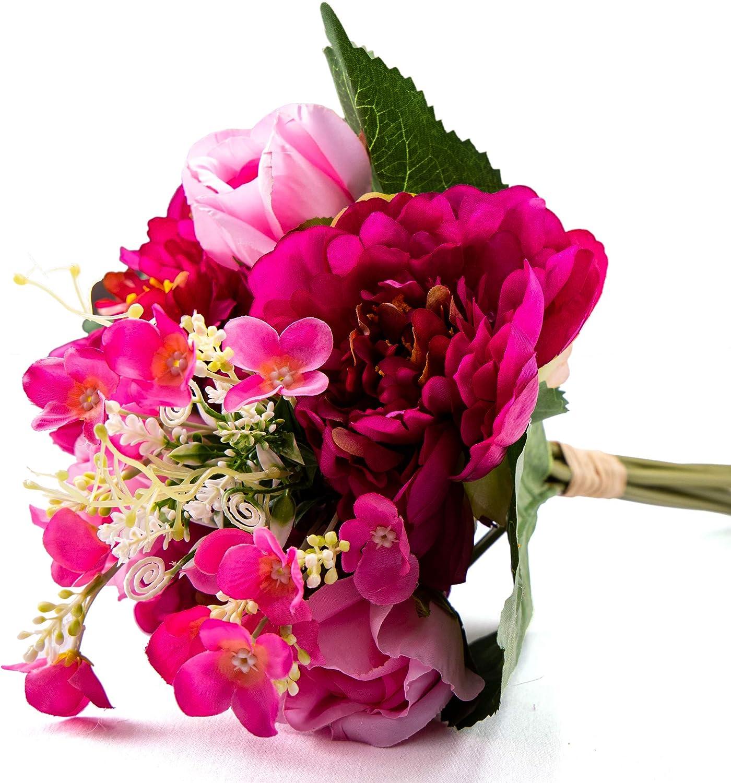 SKFLO Peony Silk Flowers Decorations Handmade Peony Table Centerpiece Wedding Decor Bridal Bouquet Faux Flower Home Decor Silk Pink Daisy Rose Purple Red Peonies Pack of 9 Stems