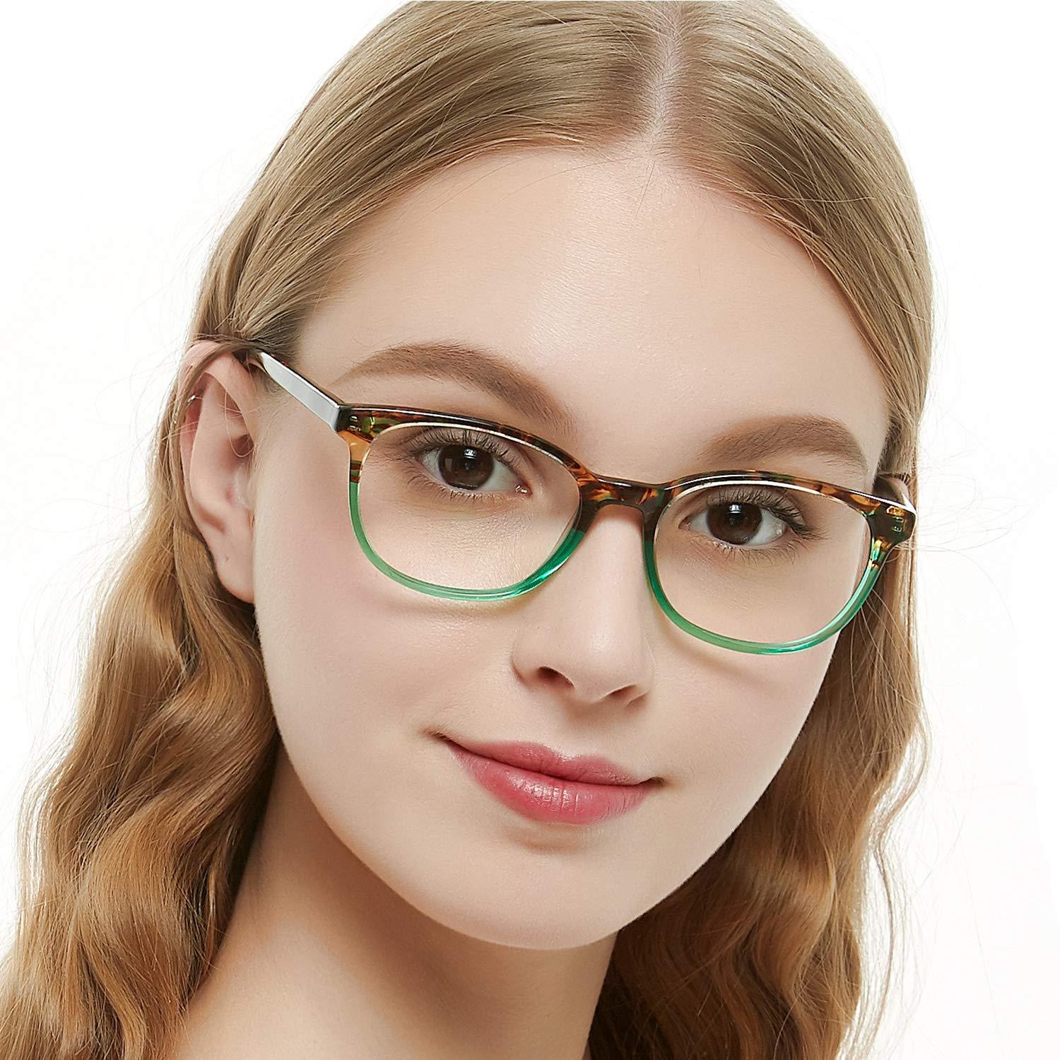 f8a072f42a3 OCCI CHIARI Rectangle Stylish Eyewear Frame Non-prescription Eyeglasses  With Clear Lenses Gifts for Women (Green