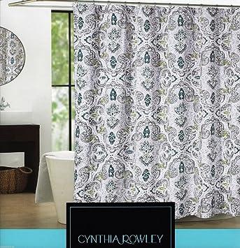CYNTHIA ROWLEY SHOWER CURTAIN MICA FLORAL MEDALLION WHITE GREY SAGE GREEN  NAVY761768397084  Cynthia Rowley Curtains