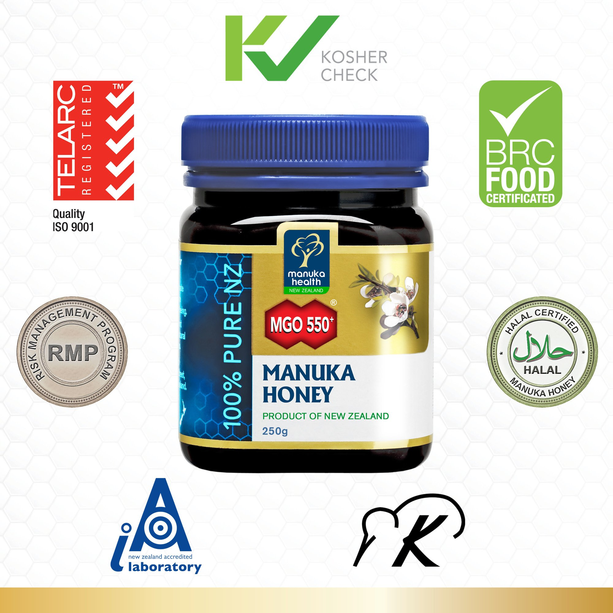 Manuka Health - MGO 550+ Manuka Honey, 100% Pure New Zealand Honey, 8.8 oz (250 g) by Manuka Health (Image #1)