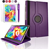 "SAVFY Purple Samsung Galaxy Tab S 10.5 Case-SAVFY Retail Packed 360 Degree Rotating PU Leather Case Cover Stand with Auto Sleep/Wake Function For Samsung Galaxy Tab S 10.5"" T800/T805 Tablet + Screen Protector + Stylus Touch Pen (Available in Mutiple Colors)"