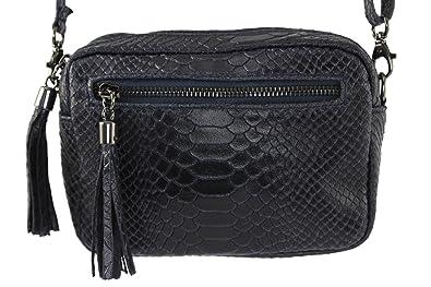 62cb8fa67fd07 CHLOLY - Petit sac cuir femme Pio Italie - Bleu Marine: Amazon.fr ...