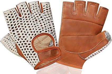 Retro PU Leder Unisex Erwachsene Fingerless Driving Radfahren Handschuhe