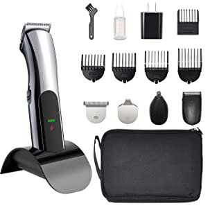 Electric Mustache and Beard Trimmer, 5 in 1 Fast Charge, Cordless Rechargeable Personal Grooming Set for Men and Women with Precision, Foil, Nose Hair Trimmer RCF-1523 (Gun Metal)