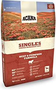 Acana Singles Dry Dog Food, 13 Pounds, Beef and Pumpkin Formula for Dogs with Food Sensitivities
