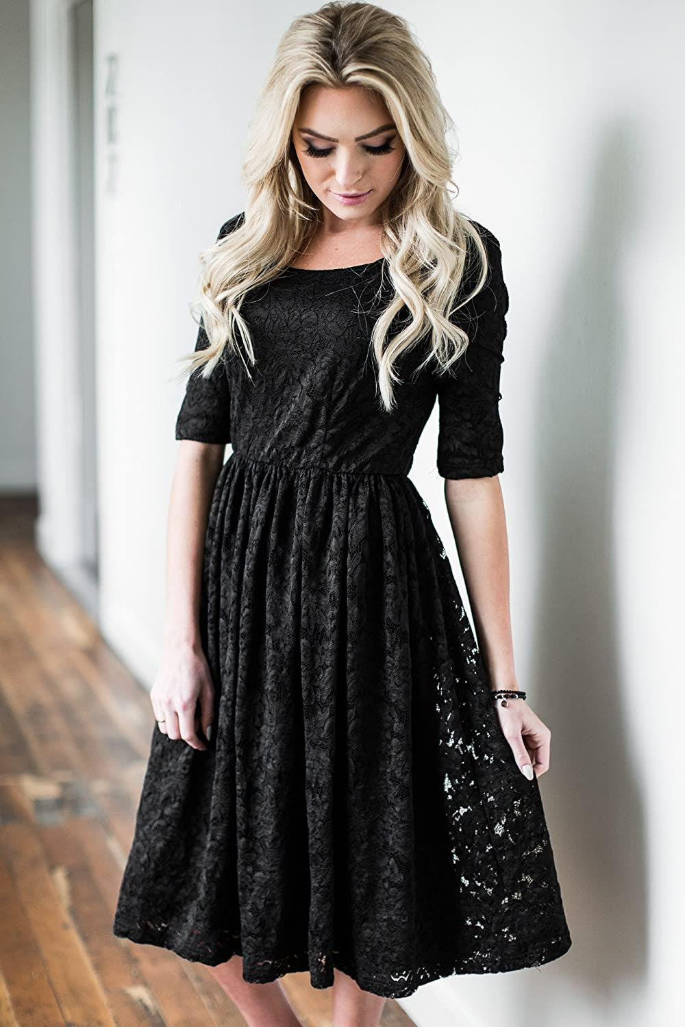 2c60691807f Mikarose Addison Modest Dress in Black Lace at Amazon Women s Clothing store
