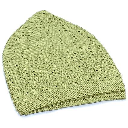 Amazon Quality Muslim Islamic Kufi Cap Light Green Prayer Hat