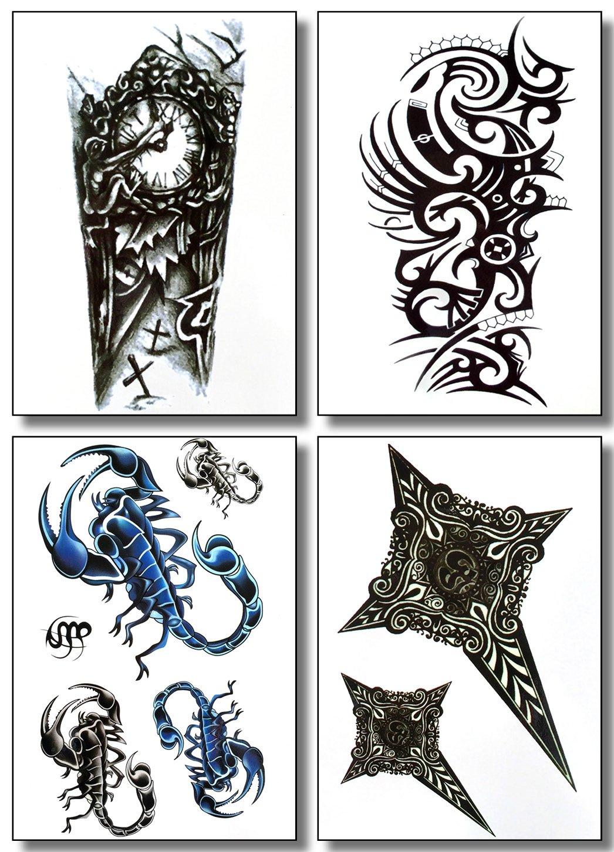 8 Hojas De Tatuajes Temporales Para Chicos Y Hombres Diseño Tribal