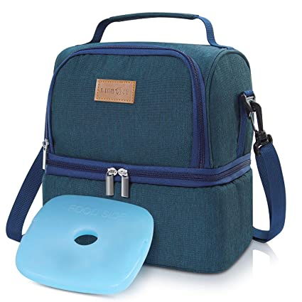 88a52dd683d8 Lifewit Insulated Lunch Box for Adults/Men/Women/Kids, Thermal Lunch Bag,  Cool Bento Bag for Office/School/Picnic, 7L, Dual Compartment, Blue