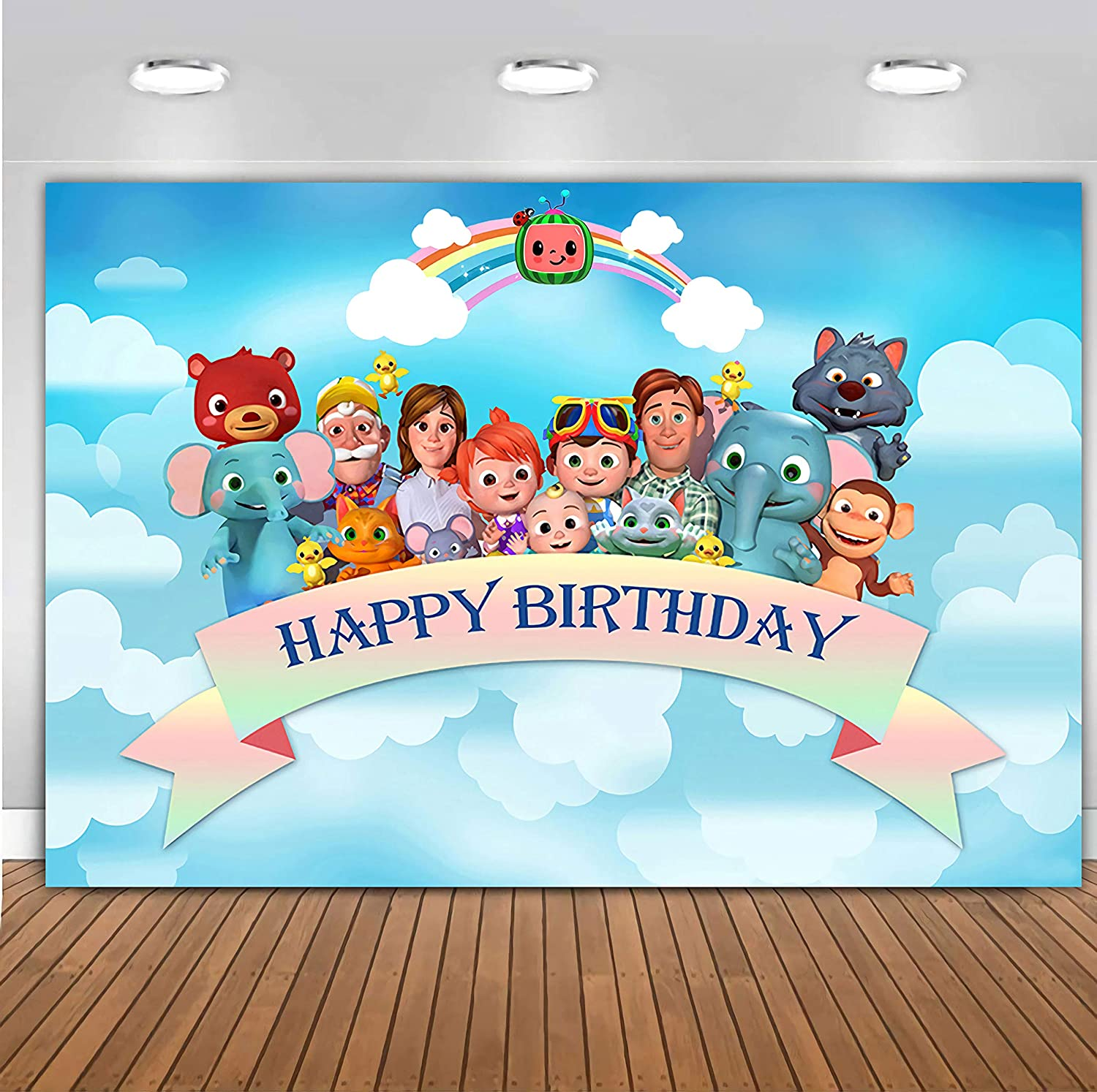 Photography Backgrounds Cocomelon Family Kids Birthday Party Backdrops Blue Sky Clouds Animals Ribbons Photocall Custom for Girls Boy Pictures Cake Table Decor Photo Booth Props