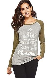 25c9b2b84af WOAIVOOU Women Christmas Tops Casual Long Sleeve Baseball T Shirt Funny  Letter Print Xmas Blouse Shirts