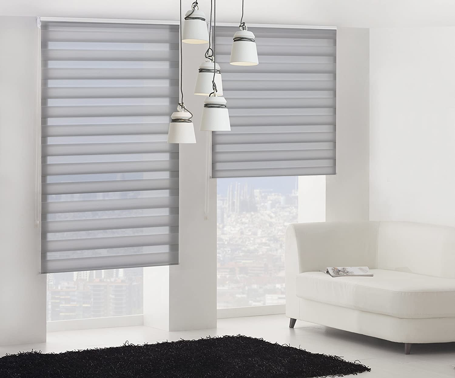 100x180cm Double layered roller blind Beige width x height Blindecor Lira Waves Night and Day
