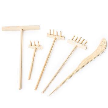Attirant Mini Zen Garden Rake Set: 5 Small Bamboo Rakes For Desktop Or Tabletop  Japanese Sand