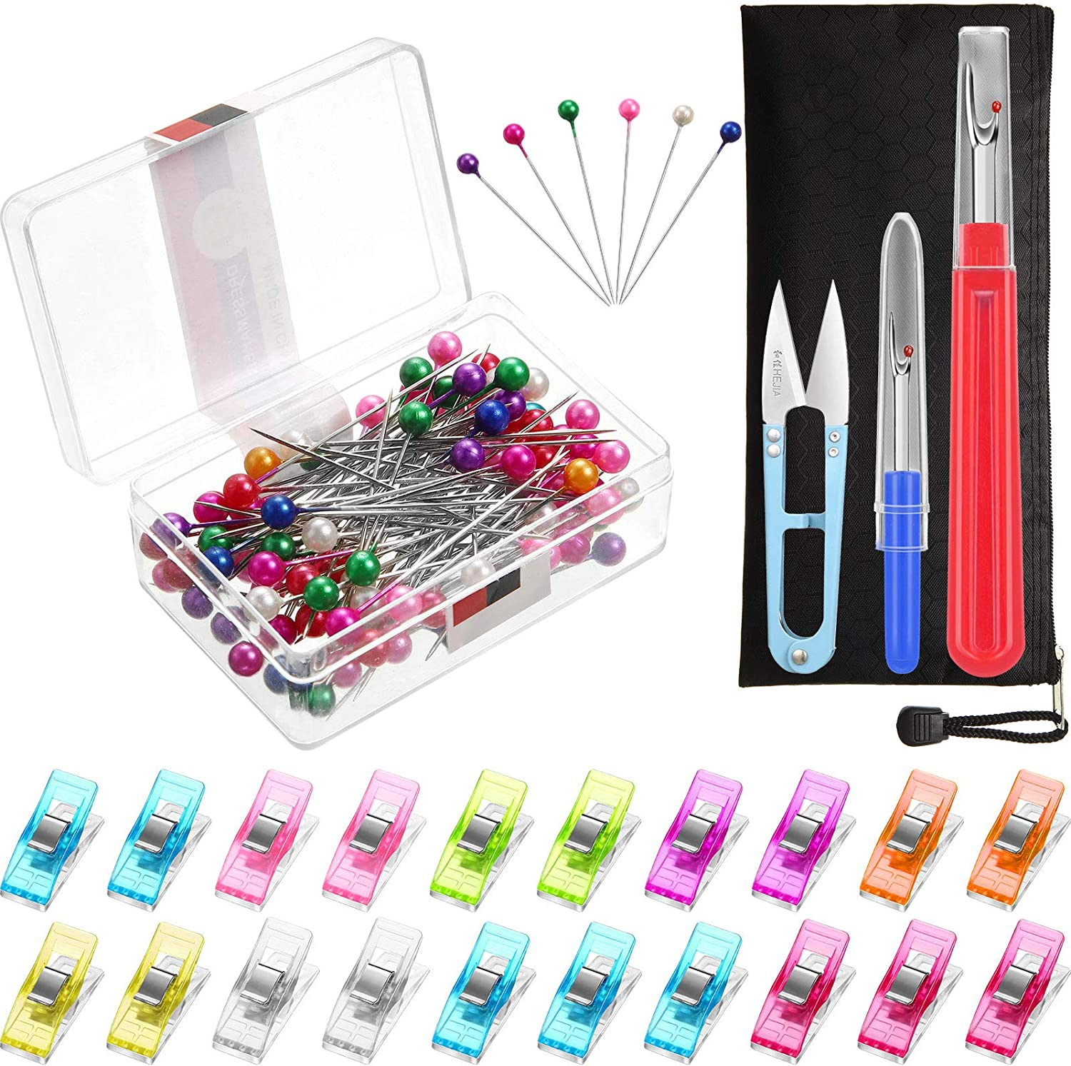 100 Pieces Colored Pearl Head Stick Pins and 20 Pieces Assorted Colors Multipurpose Sewing Clips and 2 Seam Ripper Thread Remover Tool Kit with Scissor Nipper Tool for Thread Remove