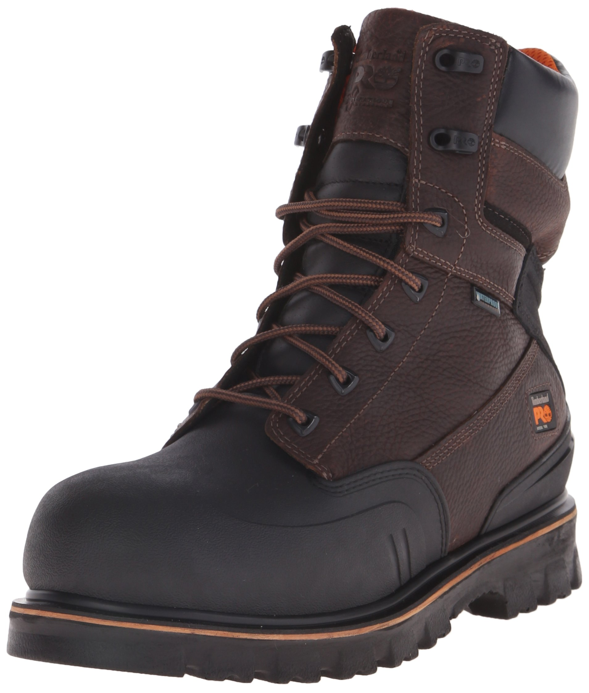 Timberland PRO Men's 8 Inch Rigmaster XT Steel Toe Waterproof Work Boot, Brown Tumbled Leather, 9.5 W US