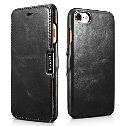 SLEO Funda para iPhone 7 / iPhone 8, Carcasa con Tapa Cuero Interior Ultra Slim Flip Folio Case para iPhone 7 / iPhone 8 - Retro Negro