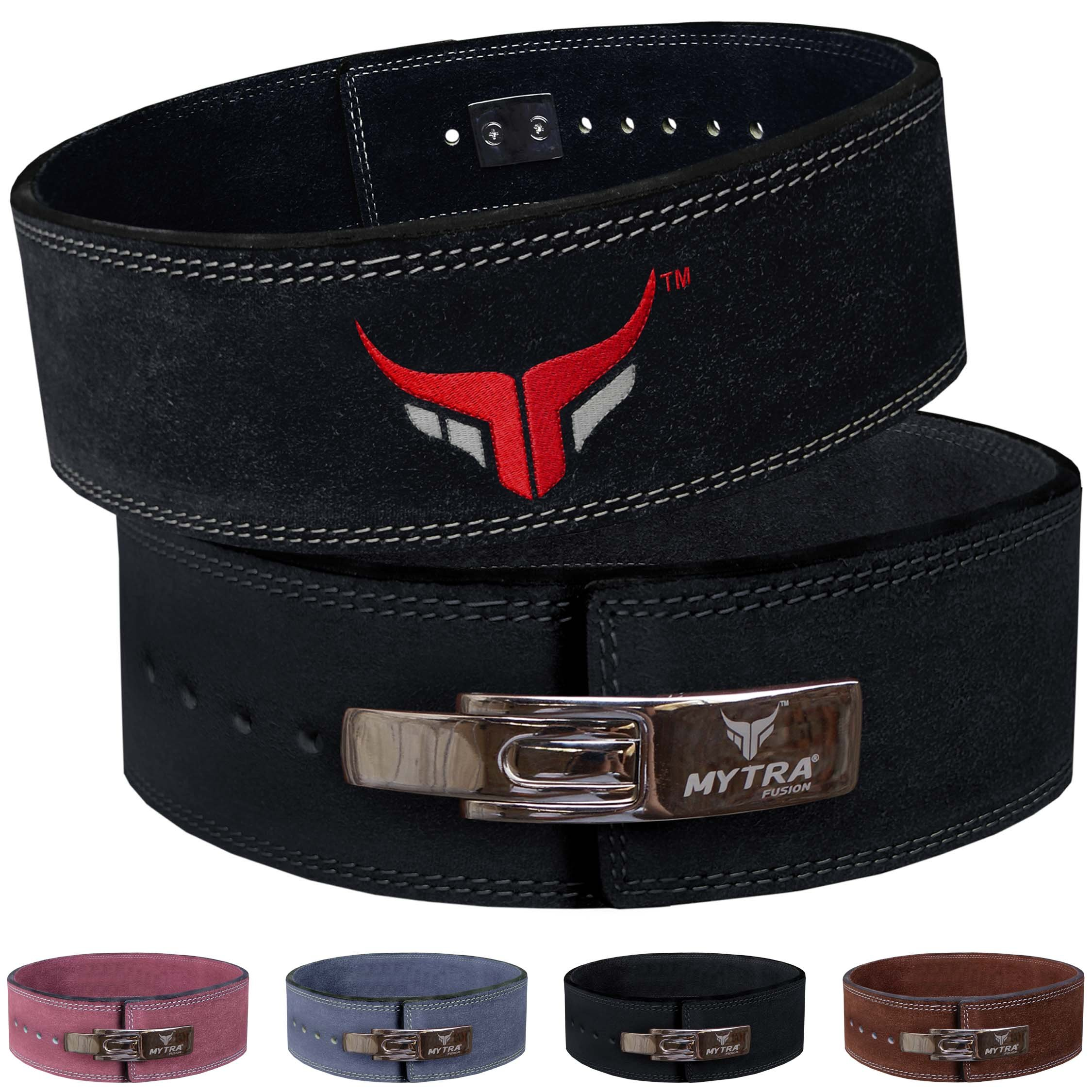 Mytra Fusion Leather Weight Lifting Power Lifting Back Support Belt Weight Lifting Belt Men Weight Lifting Belt Women Weightlifting Belt (Small, Black)