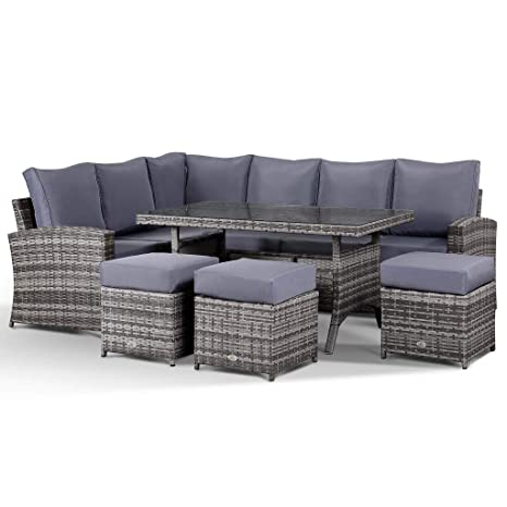 Amazing Club Rattan Harmony 9 Seater Rattan Corner Sofa With Dining Table In Grey Cjindustries Chair Design For Home Cjindustriesco