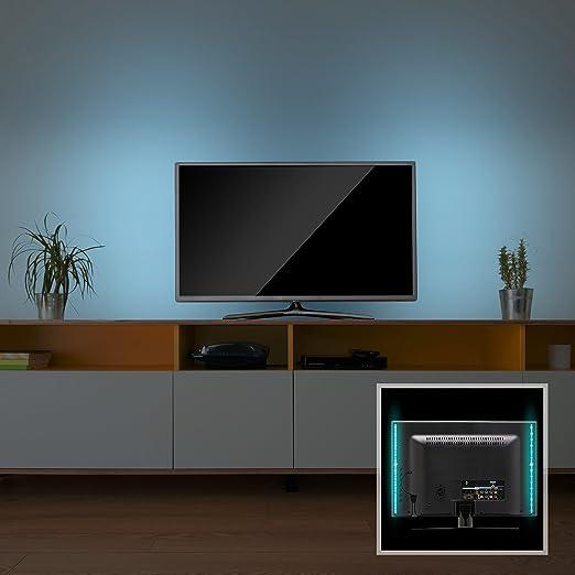 Tira LED TV USB Color Azul, Encendido Automático 50 cm: Amazon.es: Iluminación
