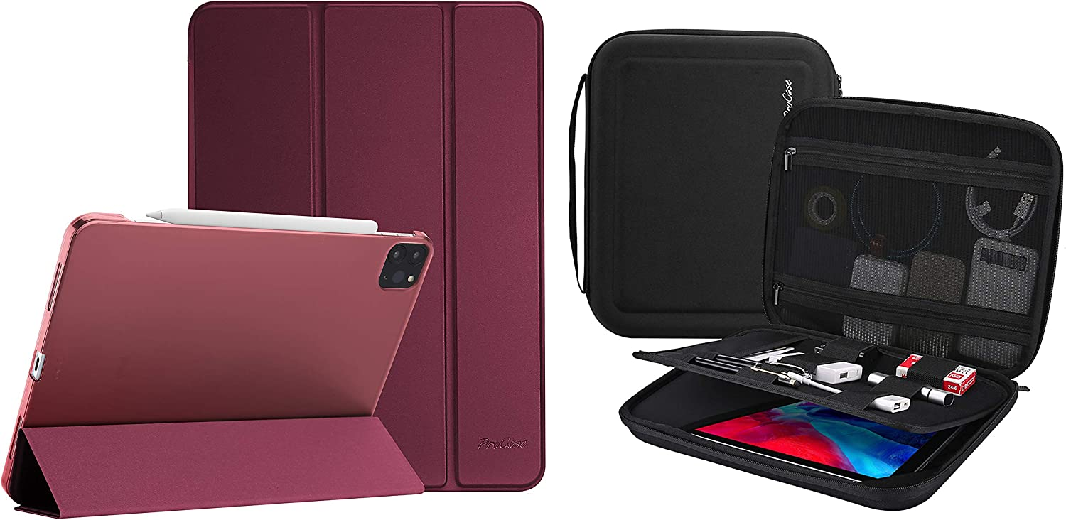 "ProCase iPad Pro 12.9 Case 4th Gen 2020 & 3rd Gen 2018 Bundle with Portable Portfolio Carrying Case for iPad Pro 12.9"" 2020 2018, MacBook 11""/ Galaxy Tab S7 Plus 12.4""/ Surface Pro X 7-1"
