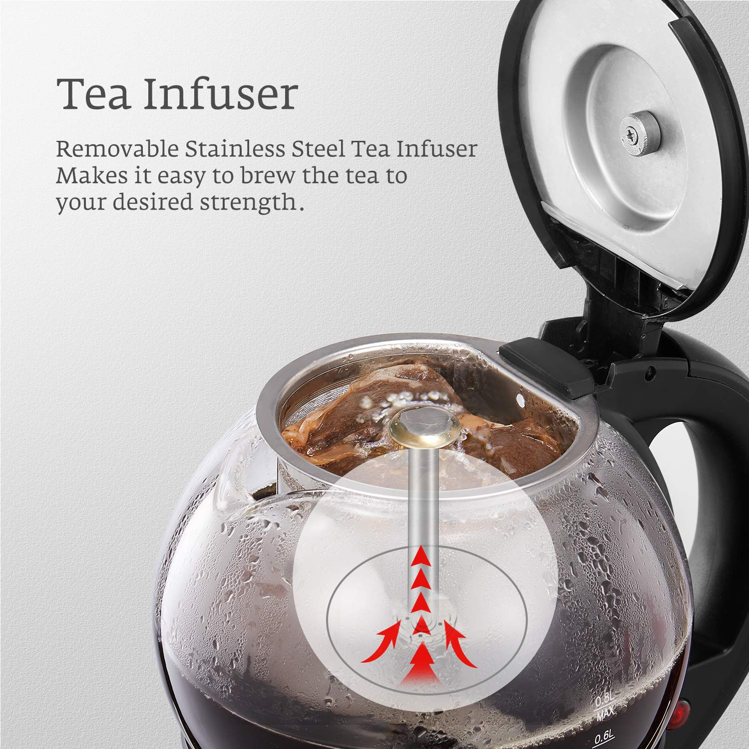 Electric Teapot, AICOOK Cordless Tea Pot Kettle with Removable Tea Infuser Set, Tea Maker For Blooming, Loose Leaf & Tea Bag and Flowering Tea, Keep Warm, Auto Shut-Off and Boil-Dry Protection, BPA Free by AICOOK (Image #5)