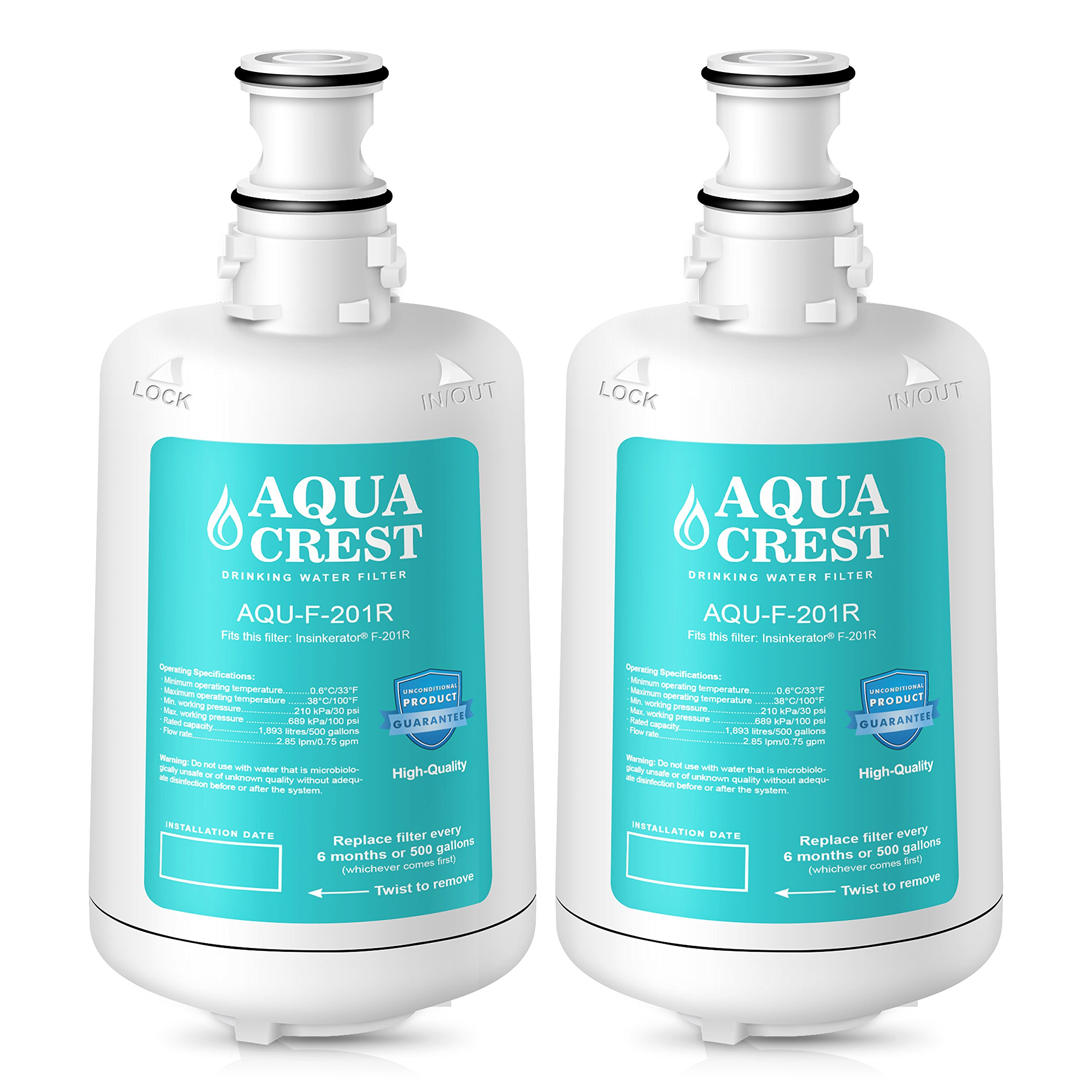 AQUACREST F-201R Replacement Under Sink Water Filter, Compatible with Insinkerator F-201R Filter Cartridge for Hot Water Dispenser (Pack of 2)