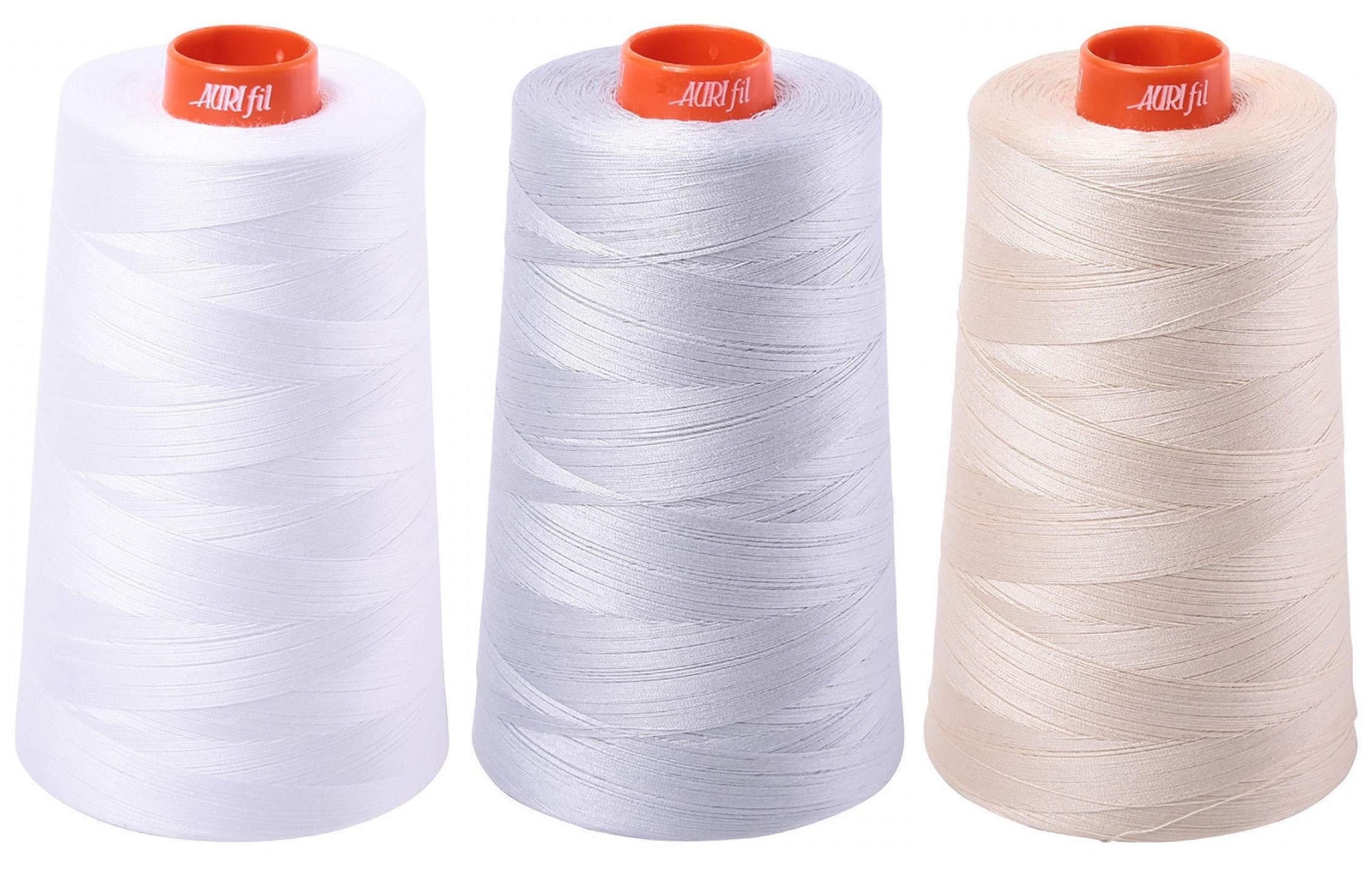 3-Pack Bundle - Aurifil 50WT Cones - White + Dove + Light Beige, Solid - Mako Cotton Thread - 6452 Yards Each by Aurifil