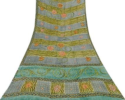 Vintage Crepe seda sari gris bordado india vestido haciendo uso de Sari 5 Yardsas