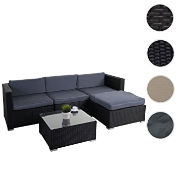 Rattan lounge schwarz grau  Amazon.de: Poly-Rattan-Garnitur Brindisi, Gartengarnitur ...