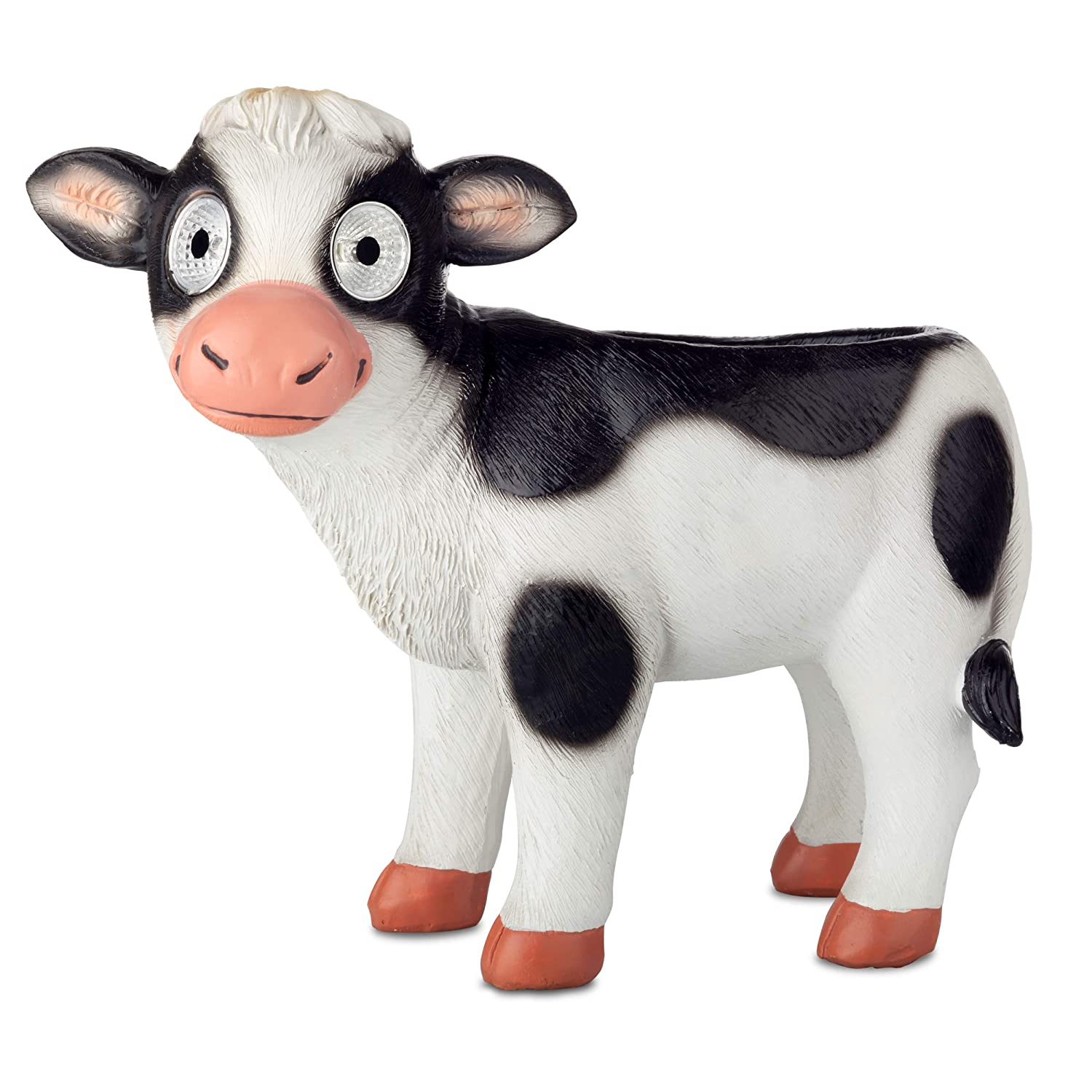 Cow Planter Animal Herb Pot   Succulent Holder   Outdoor Indoor Solar Patio Decor   Yard, Window, Kitchen or Deck   Patio Gift   Auto On/Off (White)