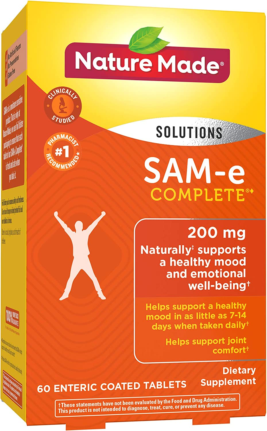 Nature Made SAM-e Complete 200 mg Tablets, 60 Count for Supporting a Healthy Mood Packaging May Vary