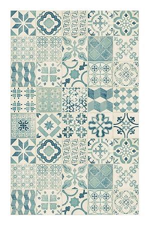 Tapis Vinyle Lino Pvc Carreaux De Ciment Bleu 100 X 160 Cm
