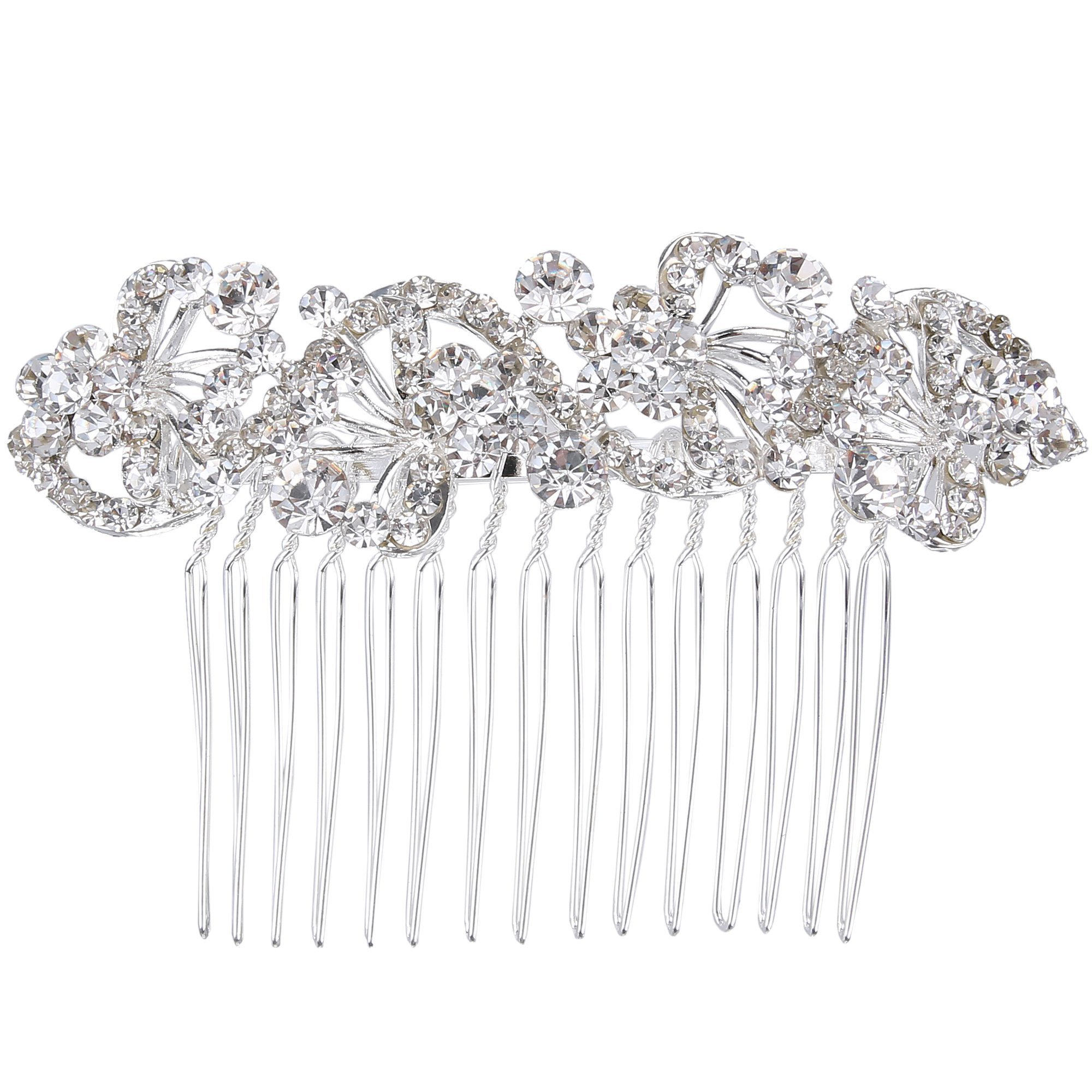 BriLove Wedding Hair Accessories Wedding Hair Comb Bohemian Crystal Charming Wave Shape Flower Bride Side Comb Women Silver-Tone Clear