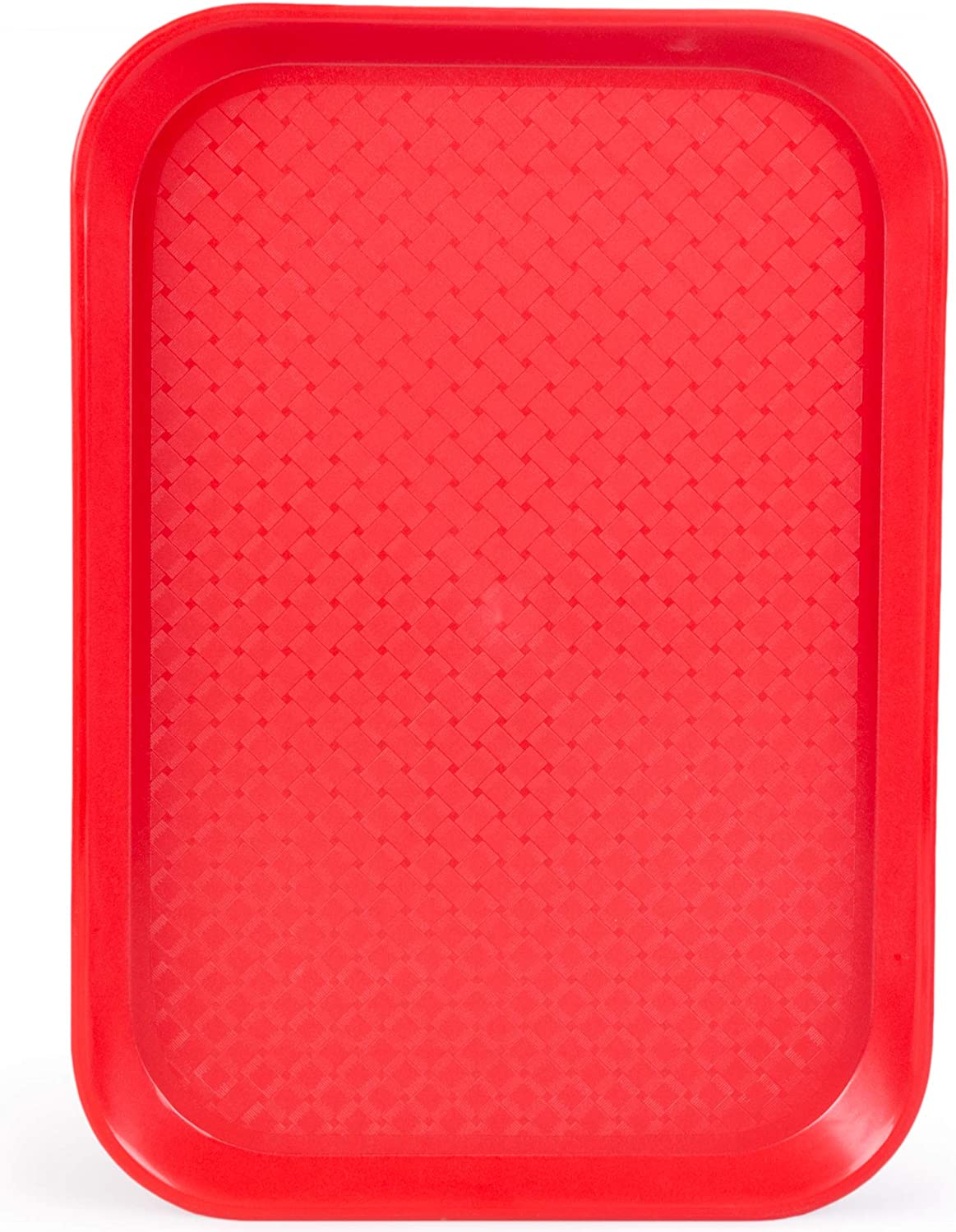 Fast Food Cafeteria Tray | 10 x 14 Rectangular Textured Plastic Food Serving TV Tray | School Lunch, Diner, Commercial Kitchen Restaurant Equipment (Red)