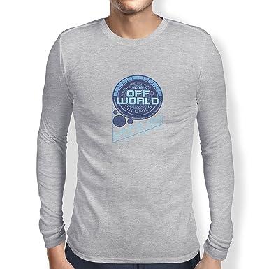 Texlab Off World Colonies - Herren Langarm T-Shirt, Größe XXL, Grau Meliert