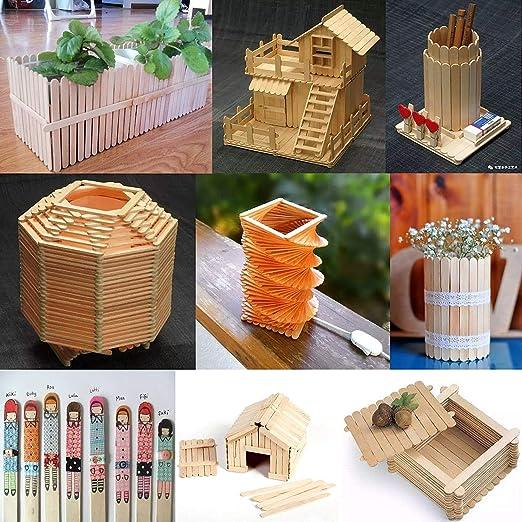 Nat/ürlich - 114 X 10 X 2 MM Lollipop Craft Sticks zum Basteln von Collagen//Dekorationen//Modellen Lollipop Sticks Nat/ürliche H/ölzerne DIY Sticks Gxhong Eisstiele aus Holz
